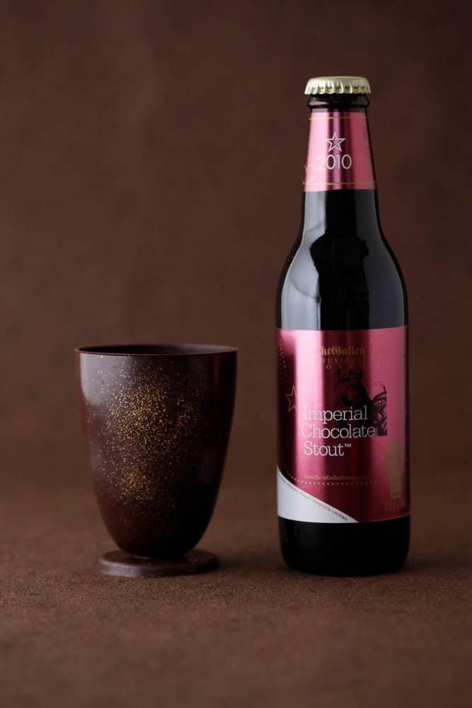 食べられるチョコグラスとチョコ風味ビールのセットが数量限定販売 -