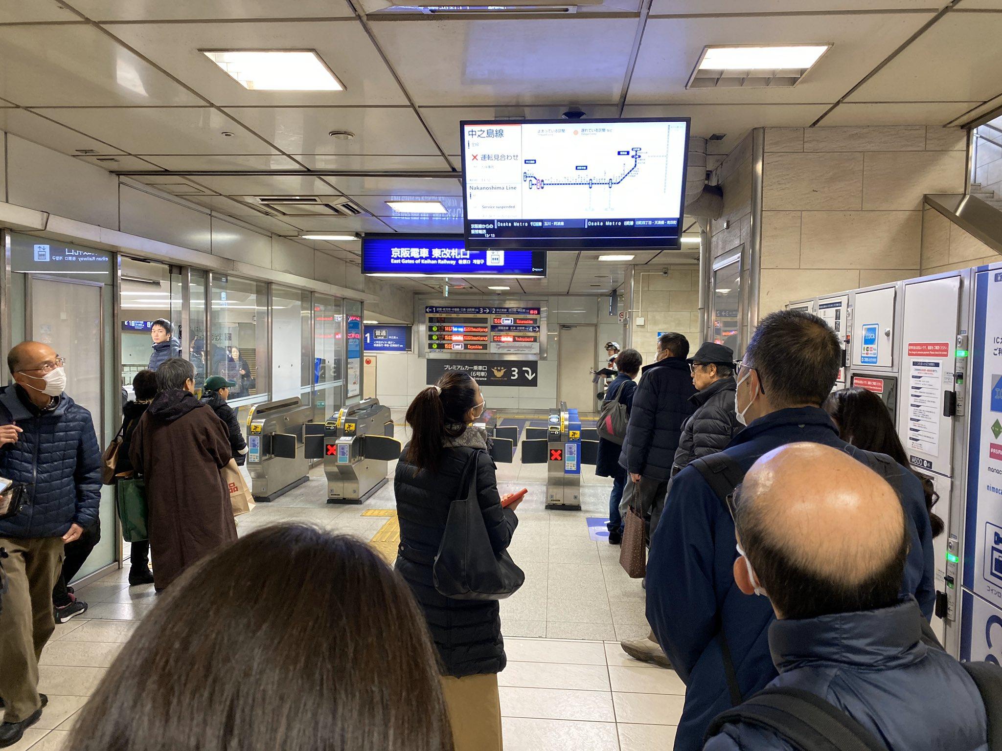 画像,京阪天満橋駅なう人身事故で運休中#散歩 https://t.co/qZuxqEHtNa。