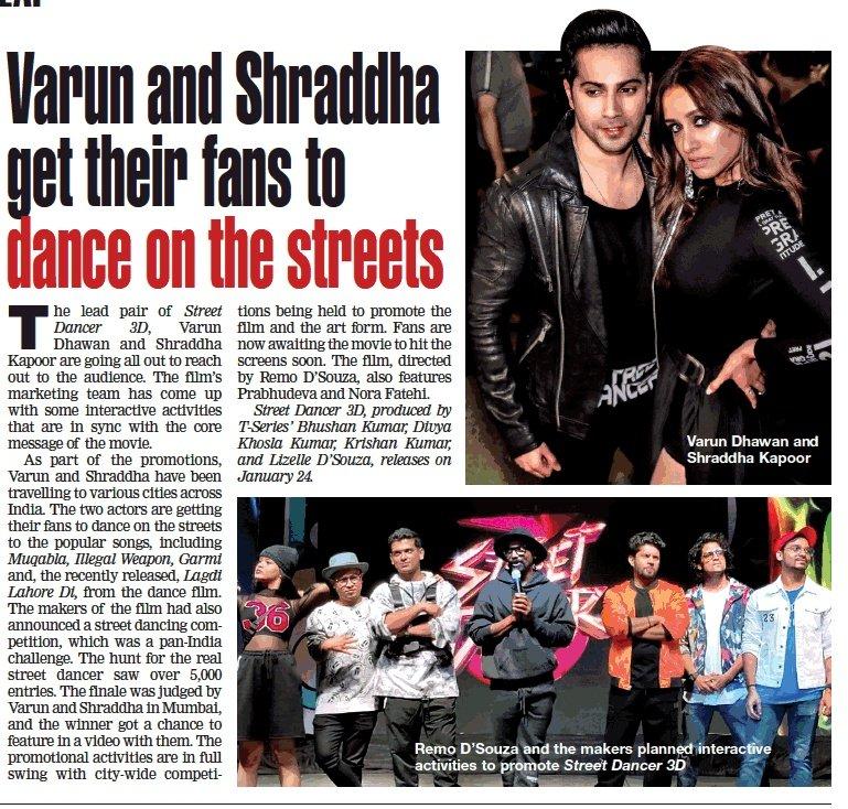 Varun and Shraddha get their fans to dance on the streets @Varun_dvn @ShraddhaKapoor @streetdancer_ #StreetDancer3D on Jan 24thpic.twitter.com/dZAfe0hmJX