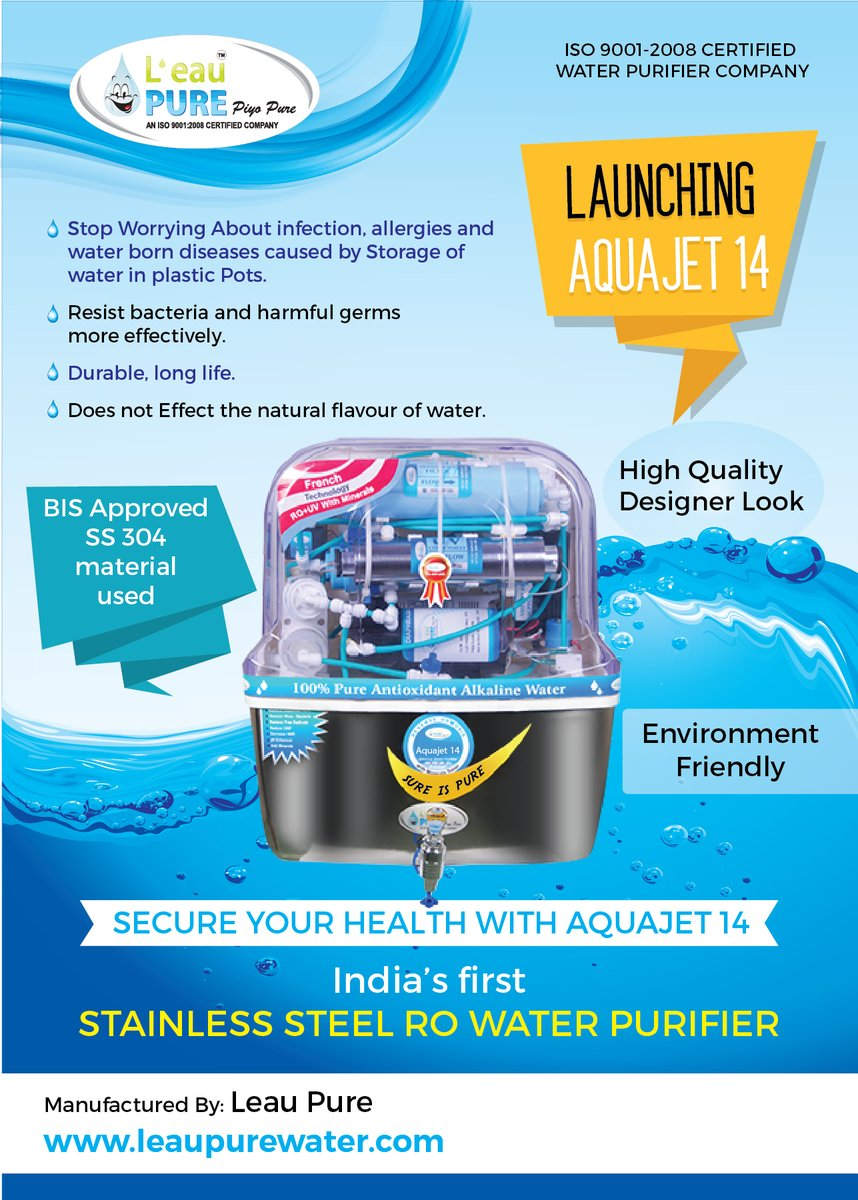 Alkaline water purifier with SS UV chamber, SS Storage tank, Ph adjuster, TDS adjuster, All in one water purifier for Rs.14990 only in Bangalore. Buy online http://www.cleanwaterkart.com #Noplastic pic.twitter.com/kKRHfrIqoV