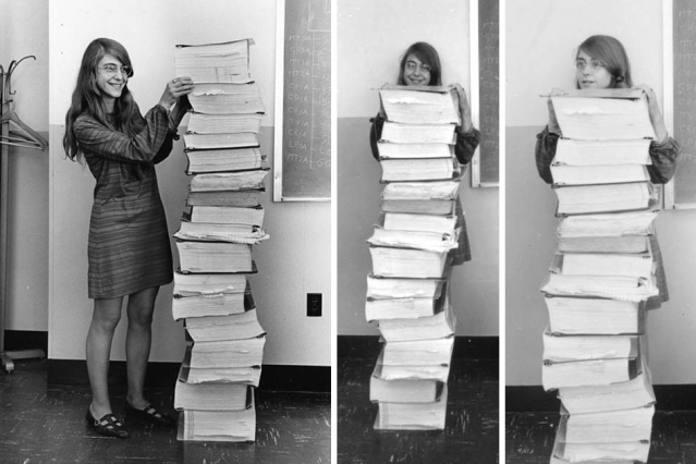 Margaret Hamilton, Lead Software Engineer of the Apollo Project, Stands Next to Her Code That Took Us to the Moon (1969)   http://www.openculture.com/?p=1041682