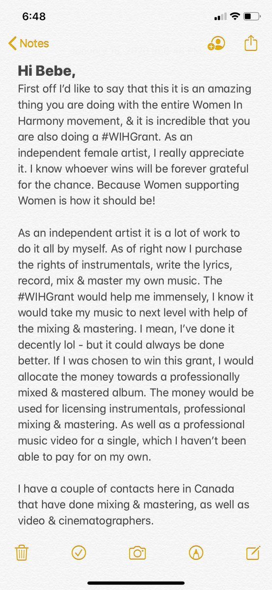 As an Independent Female Rapper from Canada, I am very appreciative of this opportunity. Hopefully you see my entry. Also good luck to all of the talented ladies that are entering. #WIHGrant  pic.twitter.com/nUH71CF1nc