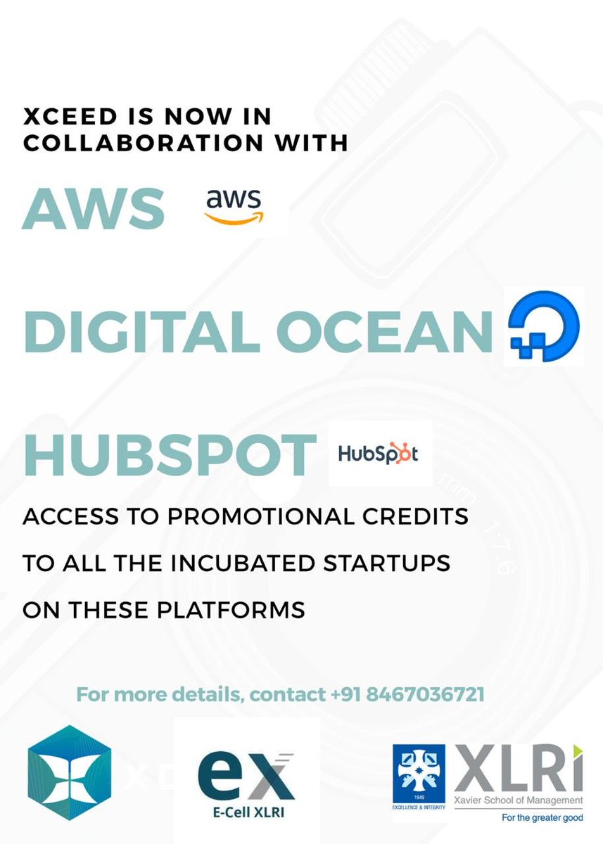 XCEED, XLRI by E-Cell, @XLRIJamshedpur is now in collaboration with @awscloud, @digitalocean, and @HubSpot   #InsideXL #XLMJpic.twitter.com/qHj9WN1QUo