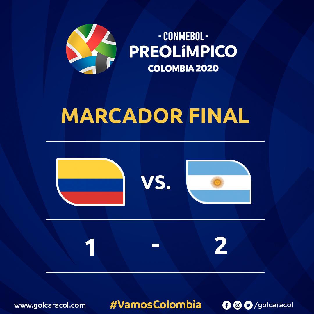 La Selección Colombia no tuvo una buena actuación y cayó derrotado en su debut frente a Argentina, en el #Preolímpico2020: http://bit.ly/2TD3iMY#VamosColombia