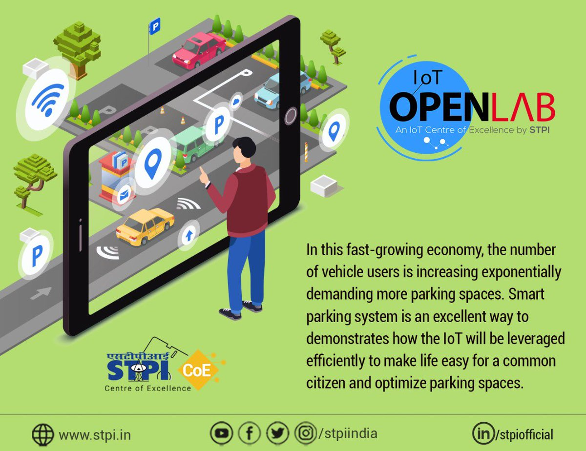 #IoT can play a revolutionary role in addressing the challenges of #smartparking. #STPIIoTOpenLab is poised to transform research & innovation in IoT space and fuel entrepreneurship by fostering tech #startups and innovators to develop world-class products. #STPICoEs @Omkar_Raii <br>http://pic.twitter.com/zMhgY62JzJ