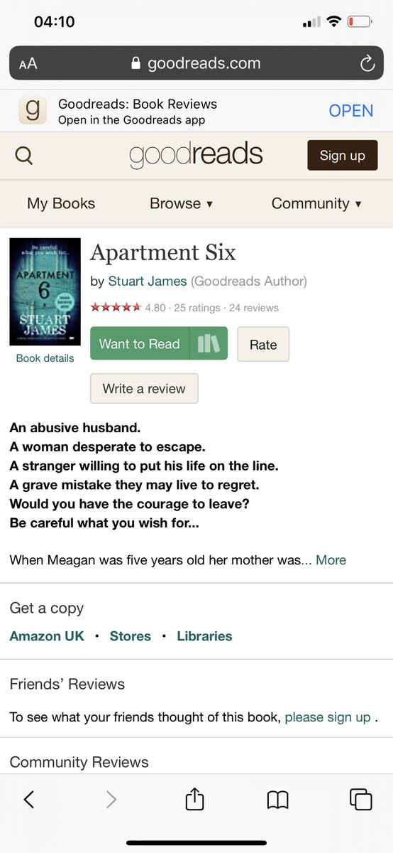 Apartment Six. Released 29th January on Amazon. Would you have the courage to leave? Be careful what you wish for...  #CoPromosRT #book #books #bookshelf #bookworm #BookBoost #bookstagram #bookaholic #bookaddict #Goodreadspic.twitter.com/jCr5v1xTYK