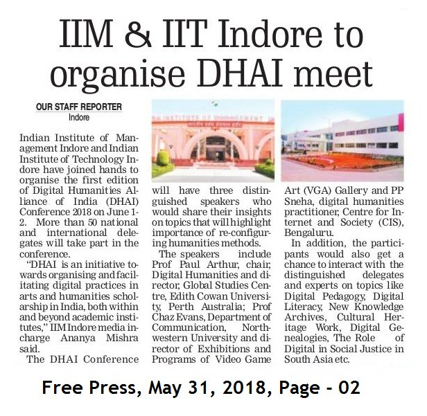 (6/n) The #DHAI2018 Conference held @IIM_I , in collaboration with @IITIOfficial , was attended by over 50 delegates from 16 Indian states and 5 countries. Reified our belief that #digitalhumanities conversations in/about India needed to be organized. #DHARTITwitterConfpic.twitter.com/Gq30HPia0Q