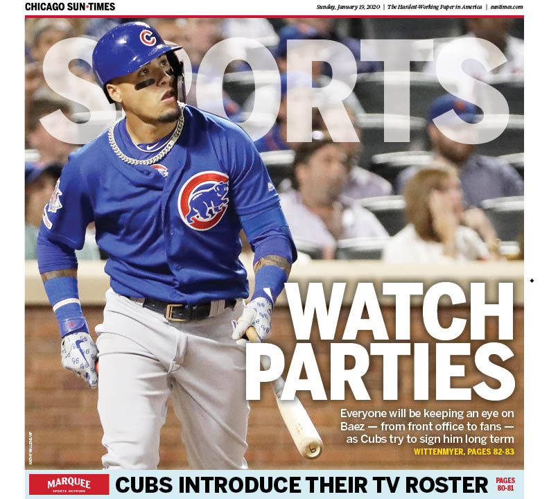 The @suntimes_sports cover, featuring, #Cubs shortstop Javy Baez, whom the team is trying to lock up with a long-term deal, by @GDubCub - https://bit.ly/2RyZEBr