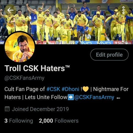 We Have Reached 2k Followers in Just 1 Month !Thank You For the #Yellove & Support 🙏🔥💛Keep Supporting us , Let's Reach High !            -Team @CSKFansArmy