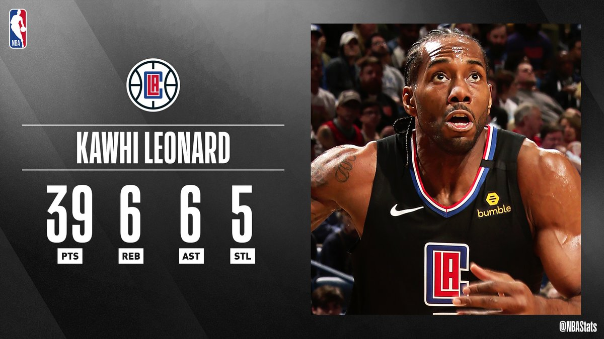 #RT @NBA: RT @nbastats: Kawhi Leonard becomes the first @LAClippers player to record at least 35 PTS, 5 REB, 5 AST and 5 STL in a game since Ron Harper on Mar. 13, 1994. #SAPStatLineOfTheNight