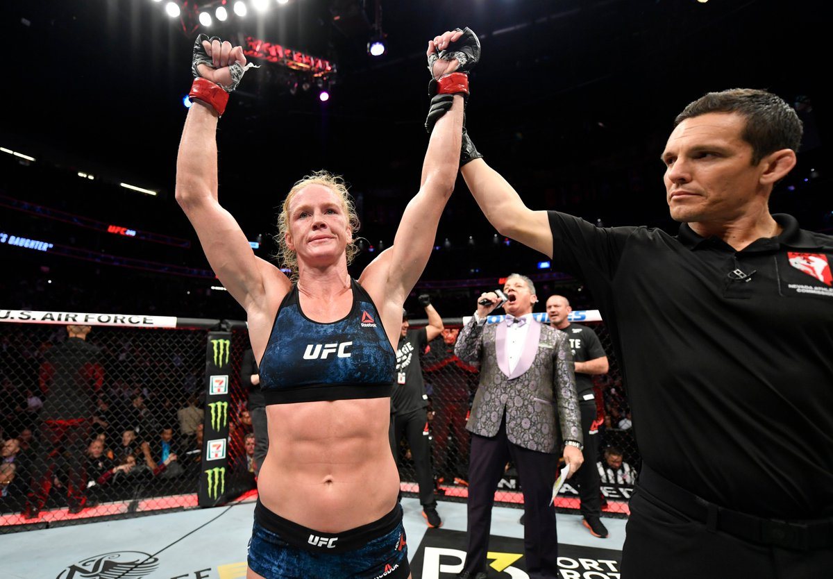 """""""I think I need to show more of my abilities to get that title shot again, I always want to have big knockouts, but I'm still learning and improving as a martial artist, so we'll see where it goes."""" - @HollyHolm after defeating Raquel Pennington at #UFC246."""