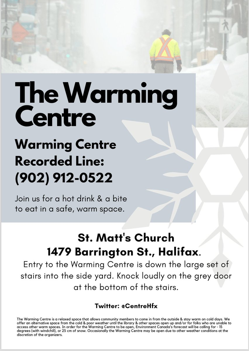 ❄️We're OPEN today, Sunday, Jan 19th from 8 AM to 2pm. We'll reassess the weather conditions at noon &  announce if we'll we open past 2 pm. We're in the basement of St Matt's- 1479 Barrington St. Please come by to warm up with a hot drink & a bite to eat in a safe, warm space.❄️
