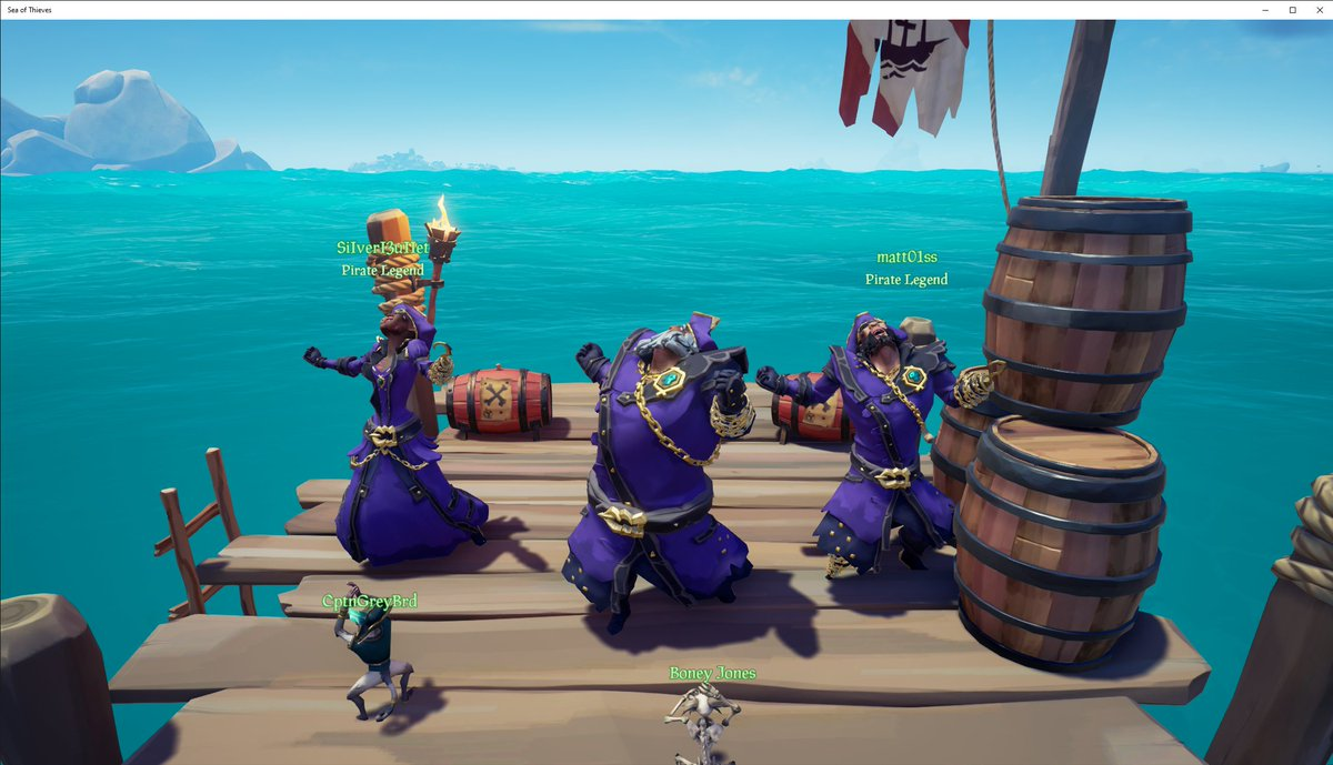 After many heists, bamboozles, and quest grinding, I'm super happy to say Kevin, Matt and myself are the newest Pirate Legends in Sea of Thieves!  @SeaOfThieves #BeMorePirate #PirateLegends