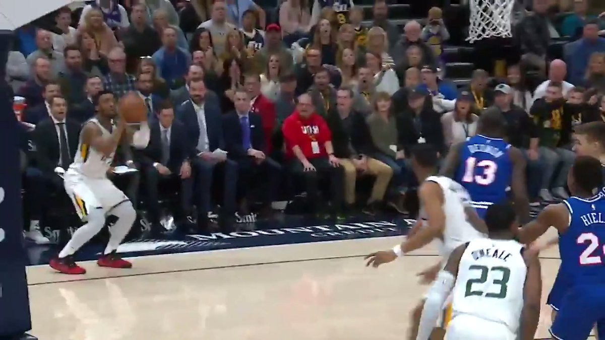 The Jazz drive, kick, and move the ball to set up Donovan Mitchell for your Heads Up Play of the Day! 💥