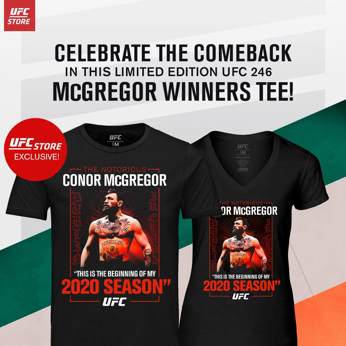 Congrats to @TheNotoriousMMA  for the epic win! Get this Limited Edition McGregor Winner's Tee today: http://bit.ly/2R80Rkb  #ufc246 #conormcgregor