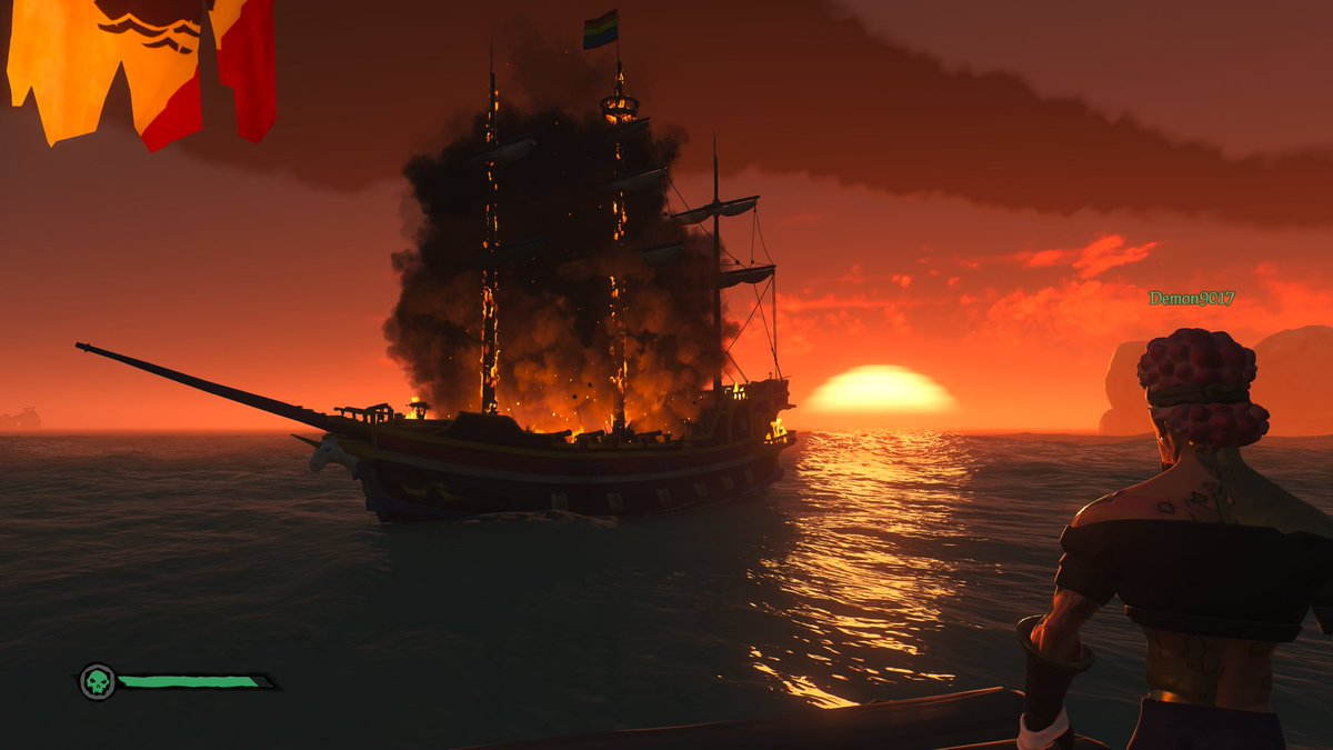 The sun sets on another memorable voyage with some of my friends, I need a bigger boat. We toured the wilds tonight saw a couple of cool Easter Eggs, and allowed Fate (or at least the coin flip) decide who we aggro. #RedMeansDead  #BeMorePirate #XboxShare #SeaofThieves
