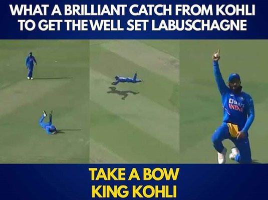 What A Brilliant Catch From Virat Kohli To Get The well Set Labuschagne.  Take A Bow #KingKohli   #ViratKohli #INDvAUS #TeamIndia <br>http://pic.twitter.com/Cp0T0Zdc27