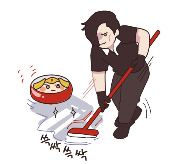 """my friend told me Hubert's line """"I'll cut a bloody path for you lady Edelgard"""" bring up the img of curling sports #fe3h #edelgard #hubertvonvestra<br>http://pic.twitter.com/EDtJIUHILu"""