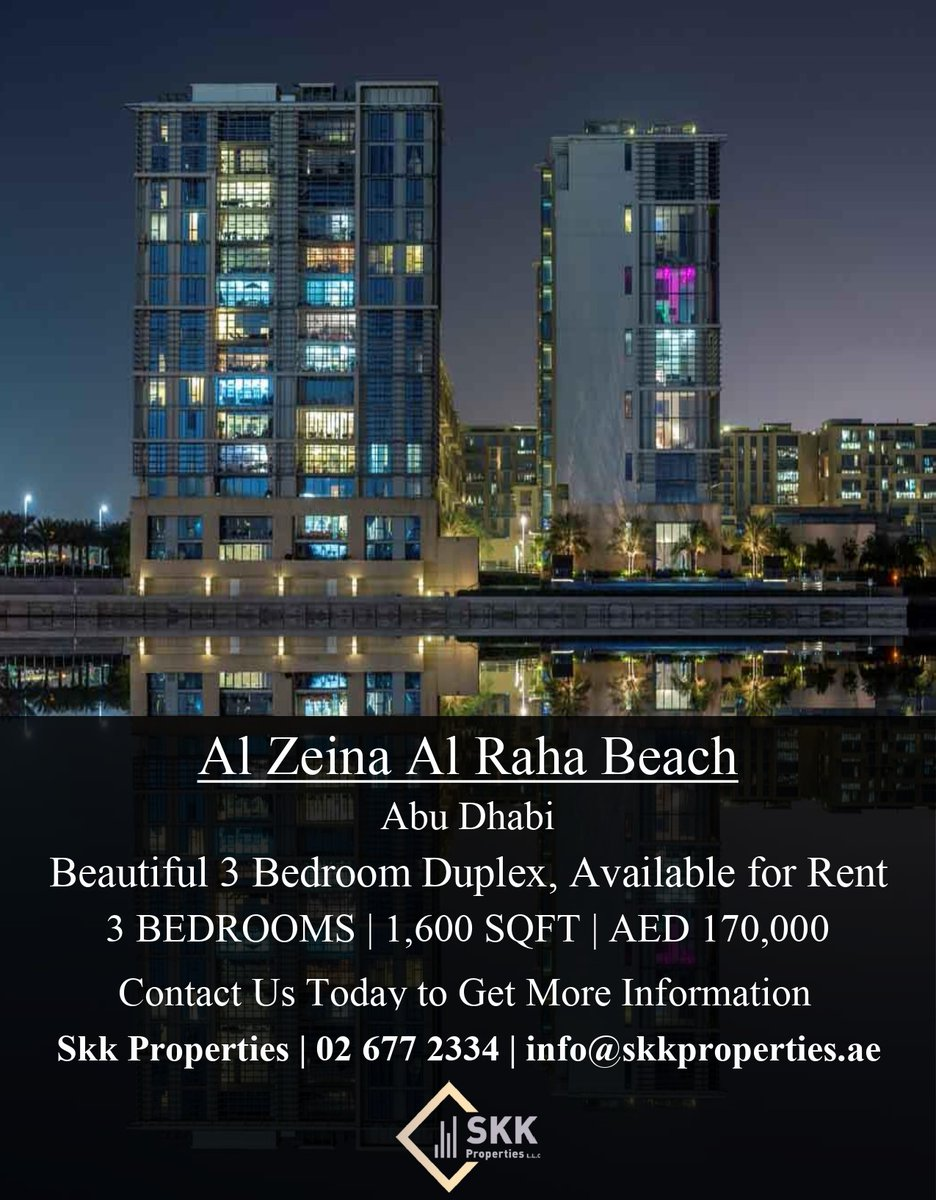 Al Zeina is the latest mixed-use development in one of the prestigious locations of Abu Dhabi, Al Raha Beach.   Call us today to get this amazing offer.  Contact: 026772334 Email: info@skkproperties.ae  #UAE #abiduabi #Properties #Apartments #Good #realty #brokerage #realestate https://t.co/Qs3gpphZWy