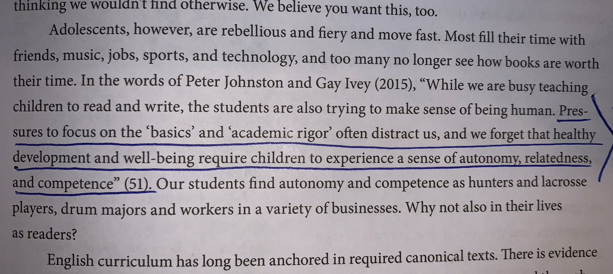 """""""Pressures to focus on 'basics' & 'academic rigor' often distract us, & we forget that healthy development & well-being require children to experience a sense of autonomy, relatedness, & competence"""" Johnston & Ivey (2015) in #180Days by @KellyGToGo & @pennykittle #proudtobeLBUSD"""