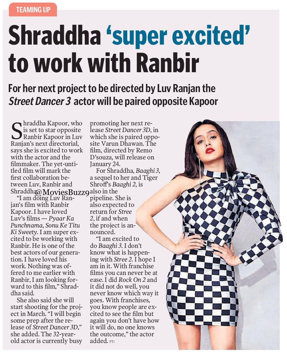 #ShraddhaKapoor 'Super Excites' To Work With #RanbirKapoor  @ShraddhaKapoor  #StreetDancer3D<br>http://pic.twitter.com/tOoUYycXEO
