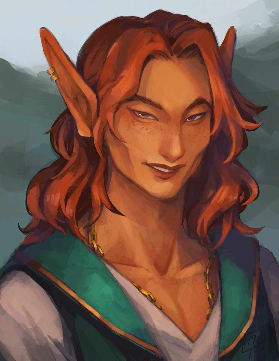 "Sylvar Quidove my over the top dramatic Eladrin Warlock turned Bard after his patron was killed. Personality and speech inspired by King George (Hamilton). 6'7"", rail thin and constantly trying to climb the nearest man who looks like they could break him in half. pic.twitter.com/GwO0Hc9pQu"