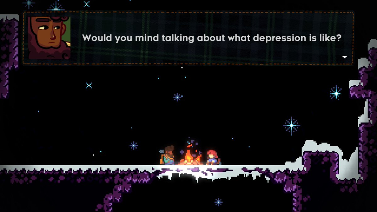 #Celeste why. I was just supposed to climb a mountain, not go on an emotional journey >:c pic.twitter.com/p3ooNXCmaR