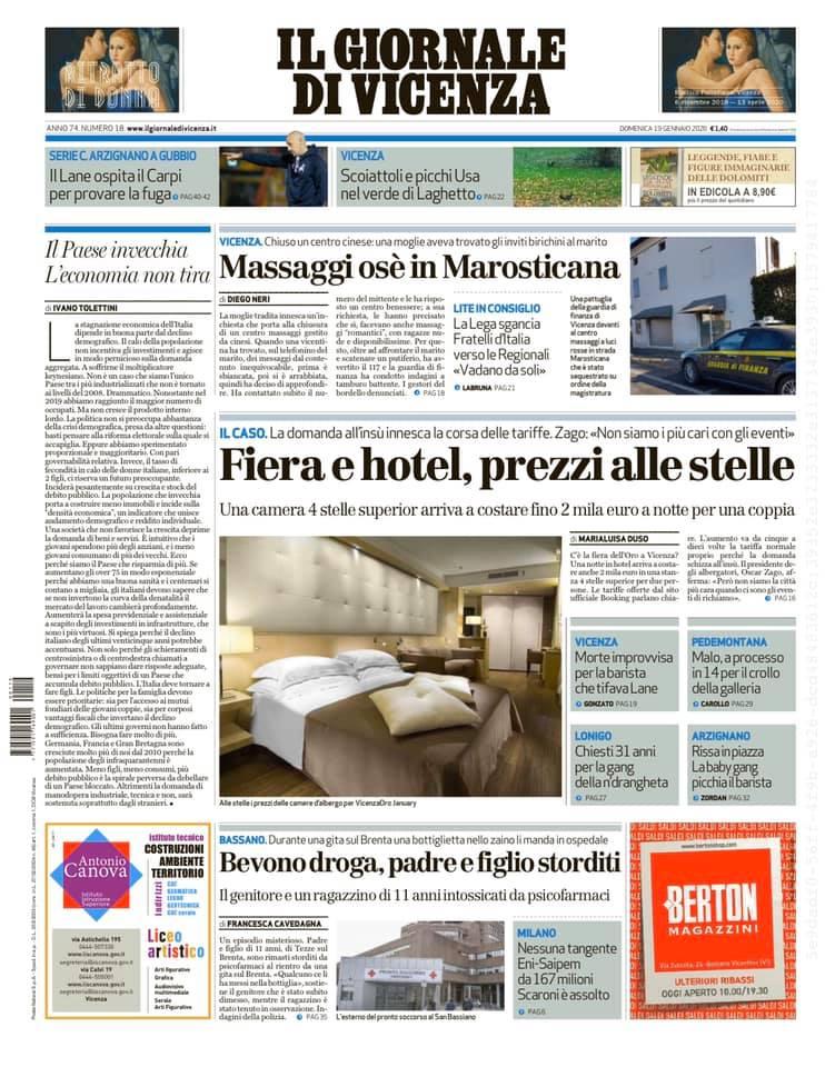 Ecco la prima pagina de Il Giornale di Vicenza in ...