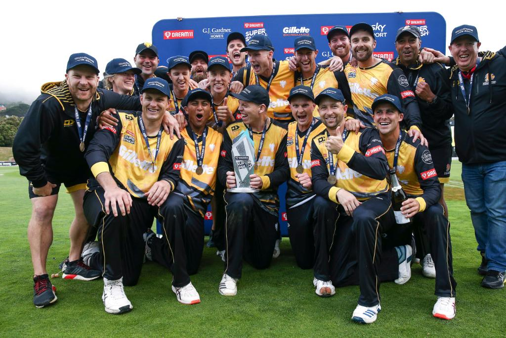 Wellington Firebirds win the men's #SuperSmashNZ    They defeated Auckland Aces in the final by 22 runs to claim their third title  <br>http://pic.twitter.com/K5CC9YTQ02