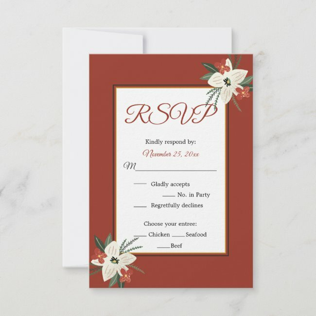 Christmas Holiday Floral Bouquet Wedding RSVP #floral #christmas #holiday #wedding #rsvp