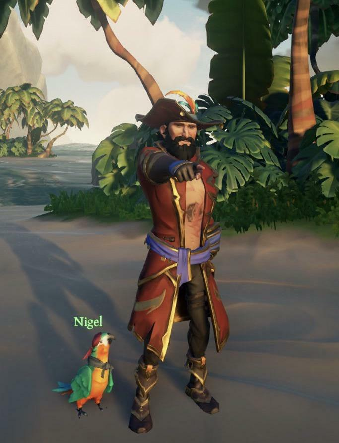 """My unnamed arena lord and his bird, Nigel. He needs a name, drop some suggestions"" posted by u/Squaticorn in r/SeaOfFashion  #SeaOfFashion #BeMorePirate #SoTShot #SeaOfThieves"