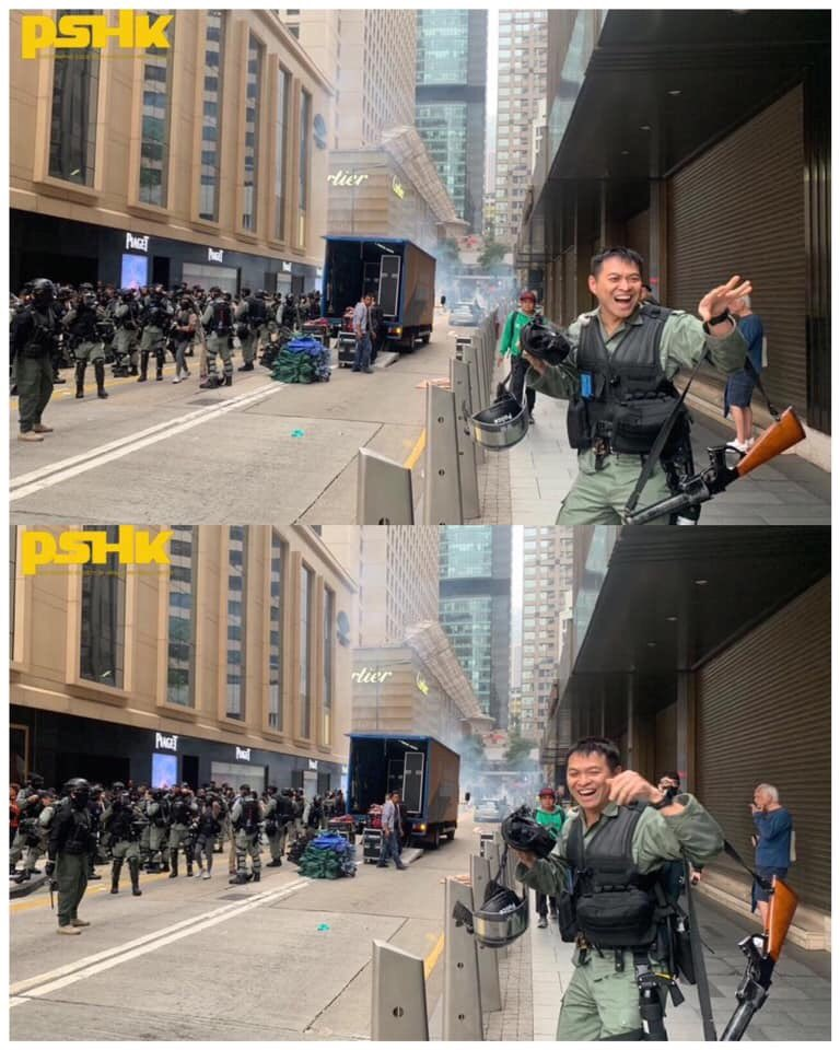 #hkpolice got extremely excited and laughed after firing the first round of teargas today.  Seriously don't know why it's exciting to point guns at #Hongkongers. #PoliceBrutality #PoliceState Credit: PSHK<br>http://pic.twitter.com/TYiGTAyr1I