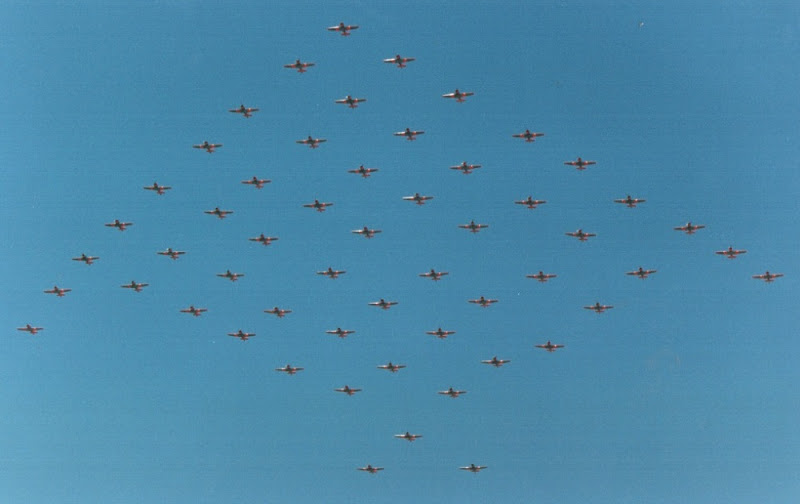When the South African Air Force retired its Harvard training aircraft in 1995, 55 years after entering service, it commemorated it with a huge 55-ship formation. The shape echoed the F-117 to reflect on the march of technology.  The SAAF replaced the Harvard with the PC-7 MkII. <br>http://pic.twitter.com/boH0hGNMN3
