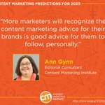 🔮 @anngynn's prediction for 2020: Marketers will regularly market themselves – not just when they want a new opportunity.⭐ Read the predictions of 90 content marketers: https://t.co/D55vzw13wn