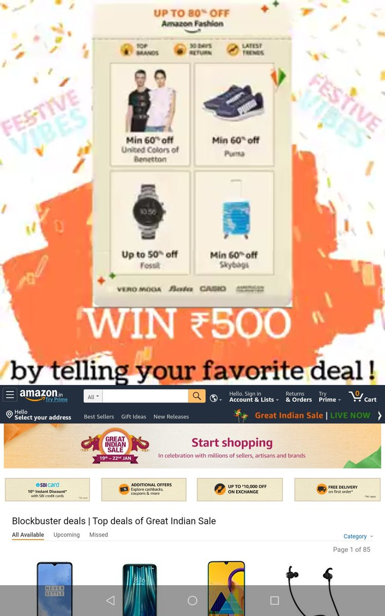 @BrochureLive Screenshot of my Fav Deals during #AmazonGreatIndianSale  #ContestAlert #ContestAlertIndia #ContestIndia #Deals #India #Offers #cashback @BrochureLive  Join @Pia @shahriravi @pranay @nia @shahriravi