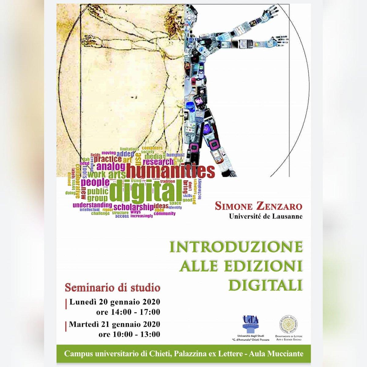 An introduction to Digital editions and digital editing by Simone Zenzaro, 20-21 January 2020, Università di Chieti. #digitalhumanities #digitalphilology #evtpic.twitter.com/i2MwgwkCzL