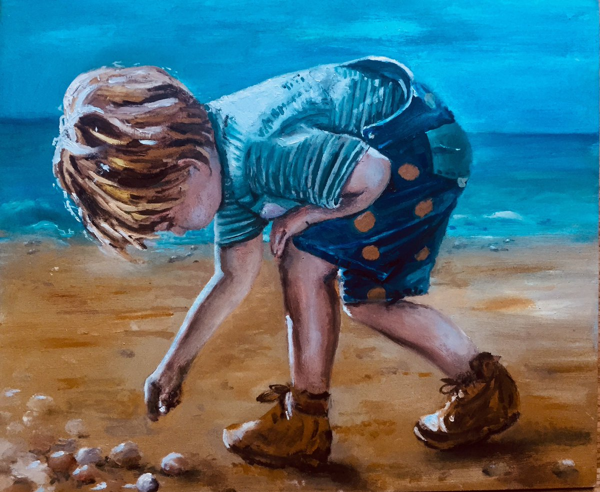 'The souvenir ' Oil on Board #art #ArtistOnTwitter #artist #seaside #boy #oilpainting #IllustrationArtist pic.twitter.com/iLlTsvu3Qo