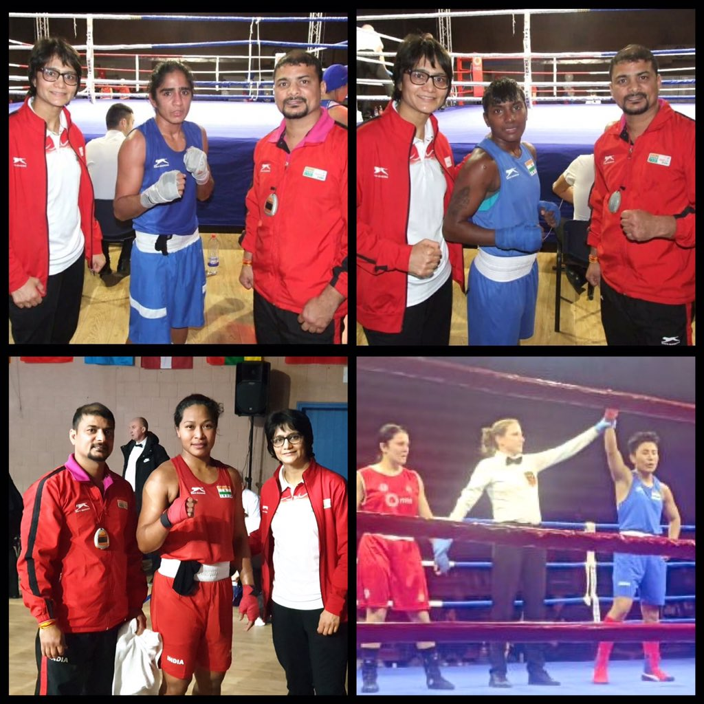 9️⃣th  Nations Cup International Boxing Championships, Serbia 🇷🇸, updates! ⬆️  4️⃣ 🇮🇳 Indians sealed their berth in the finals.  🥊 #Monika 4️⃣8️⃣kg 🥊 #Ritu 5️⃣1️⃣kg 🥊 #MMeenaKumari 5️⃣4️⃣kg 🥊 #BhagyabatiK 7️⃣5️⃣kg  Well done champs! 💪 Go for GOLD! 🔥  #PunchMeinHaiDum  #boxing