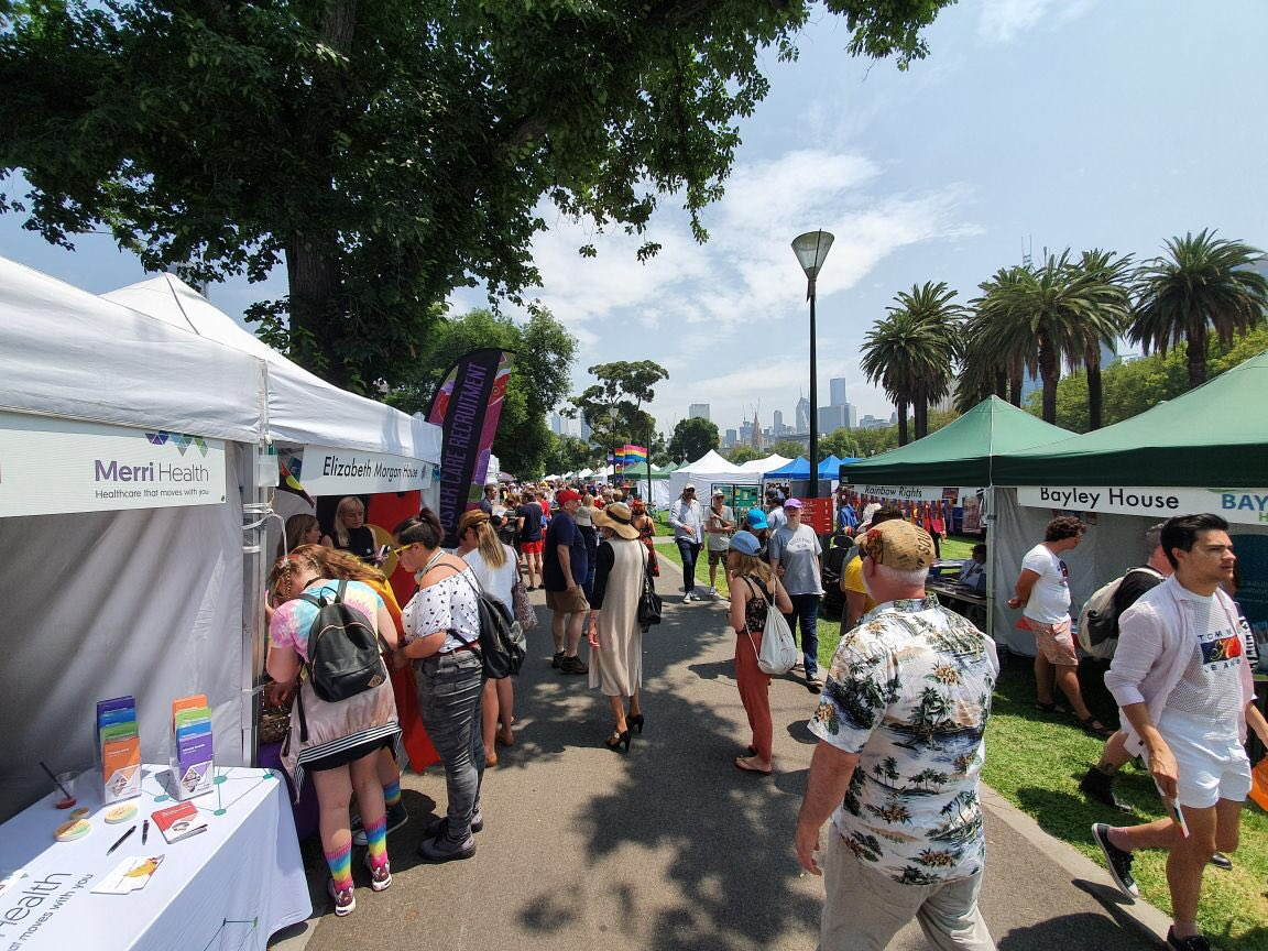 @MerriHealth proud 2 be at #midsumma supporting #safespaces promoting better health for the LGBTIQA+ community #RainbowHealthMatters<br>http://pic.twitter.com/g0Tgs0JV18