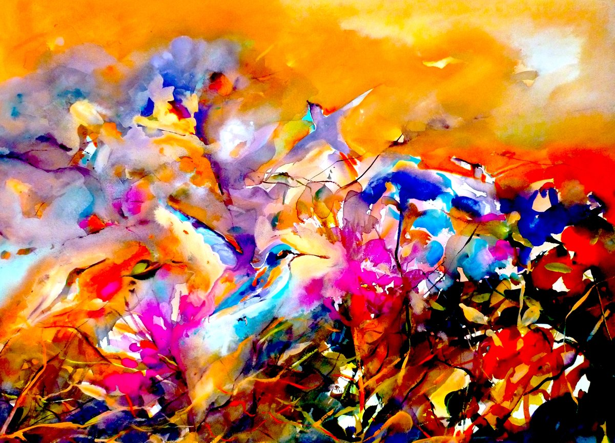 lots of colour and magical hummingbirds...watercolour/gouache <br>http://pic.twitter.com/AcwsPVKM5v