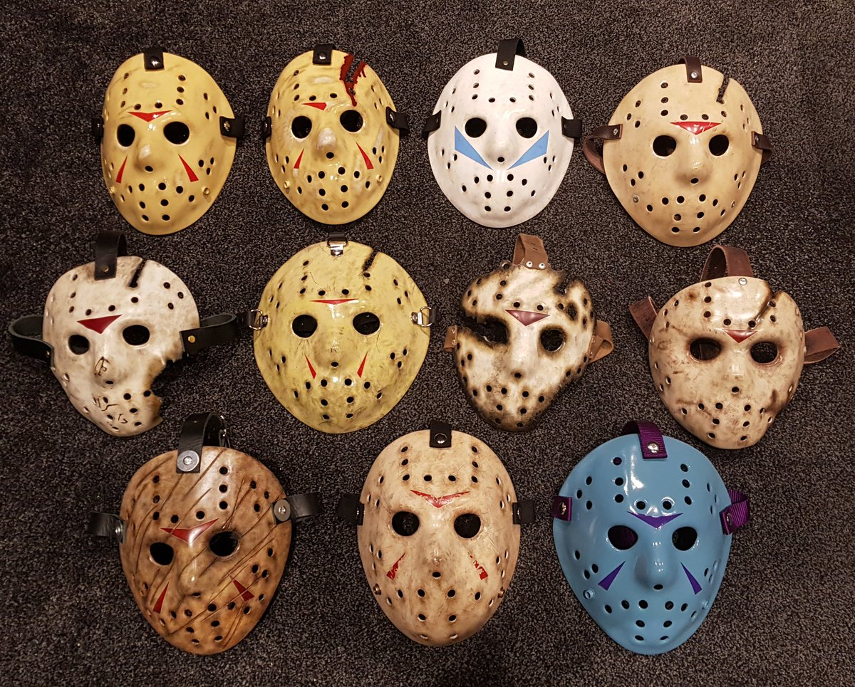 Finally finished my attempt at movie accurate Jason Voorhees masks (also the NES mask cos it's cool). Next step is to build a wooden mount to display them in my movie room. #FridayThe13th #JasonVoorhees #HockeyMask<br>http://pic.twitter.com/qpsQcViMI0