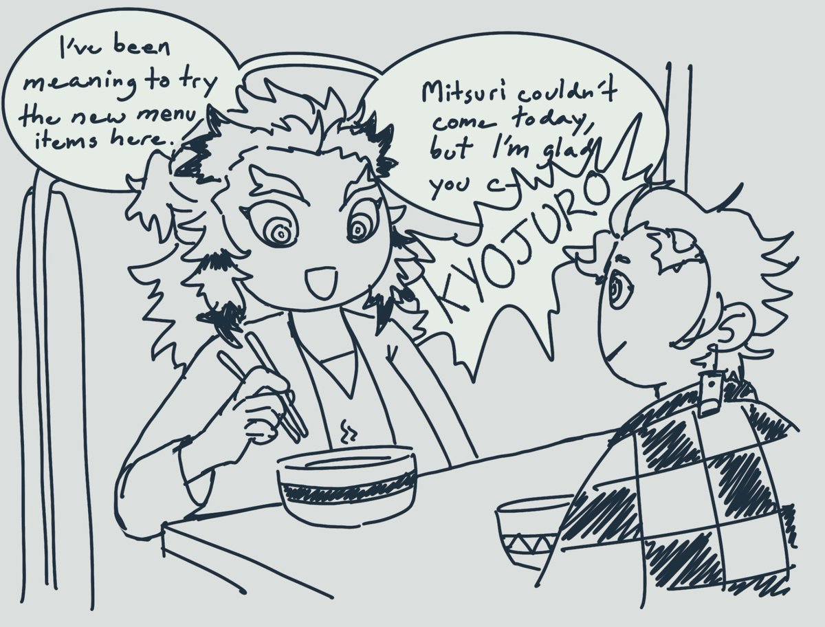 Modern foodie au where rengoku lost a food eating competition to akaza once and now akaza won't leave him alone #akaren #kny<br>http://pic.twitter.com/CIOtES4Ohx