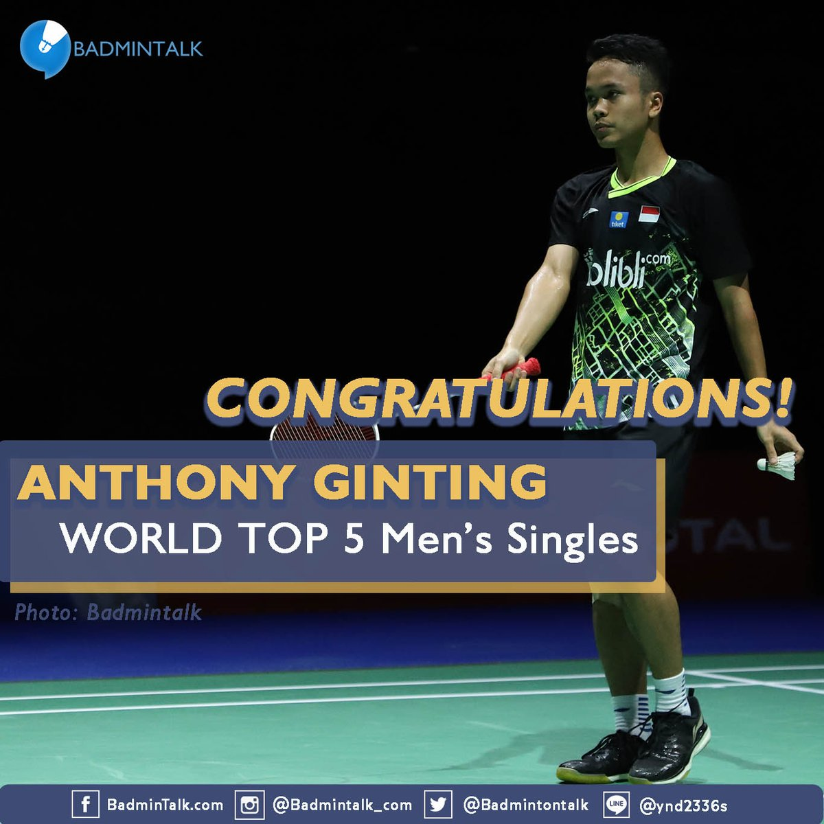 NEW CAREER-HIGH RANKING!!Congratulations to ANTHONY SINISUKA GINTING for reaching World Top 5 Men's Singles FOR THE FIRST TIME EVER after winning #IndonesiaMasters2020 Well deserved!!!
