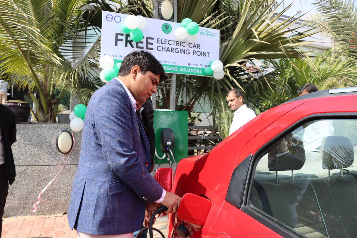 UK based EV charging solutions provider company starts first free e-vehicle charging point in Gujarat