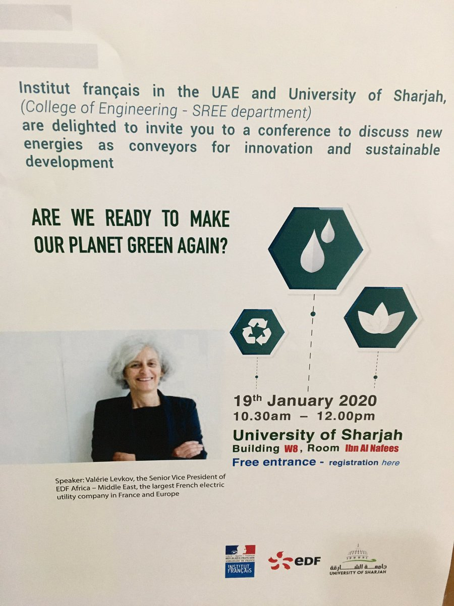 Exchanging with the students of Sharjah College of engineering. « Are we ready to make our planet green again? » : an energizing discussion about innovation and sustainable development for the energy sector #RenewableEnergy #EnergyTransition #UAE #SustainableDevelopment pic.twitter.com/zlYLuIDszc