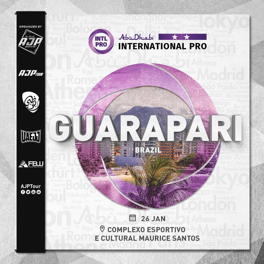 Guarapari #InternationalPro in #Brazil is sooner than you expect . Wait for us on January 26.  #AJPTour #AJP #IntlPro #JiuJitsu #Guarapari #Brazil #JiuJitsuLifeStyle #AJPWorldRankingpic.twitter.com/oVJBp5Re7L