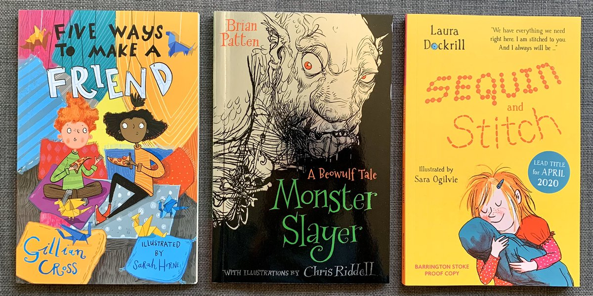 Some seriously exciting #book post from @BarringtonStoke this weekend. Behold! #GillianCross @sarahhorne9 #BrianPatten @chrisriddell50 @LauraDockrill #SaraOgilvie