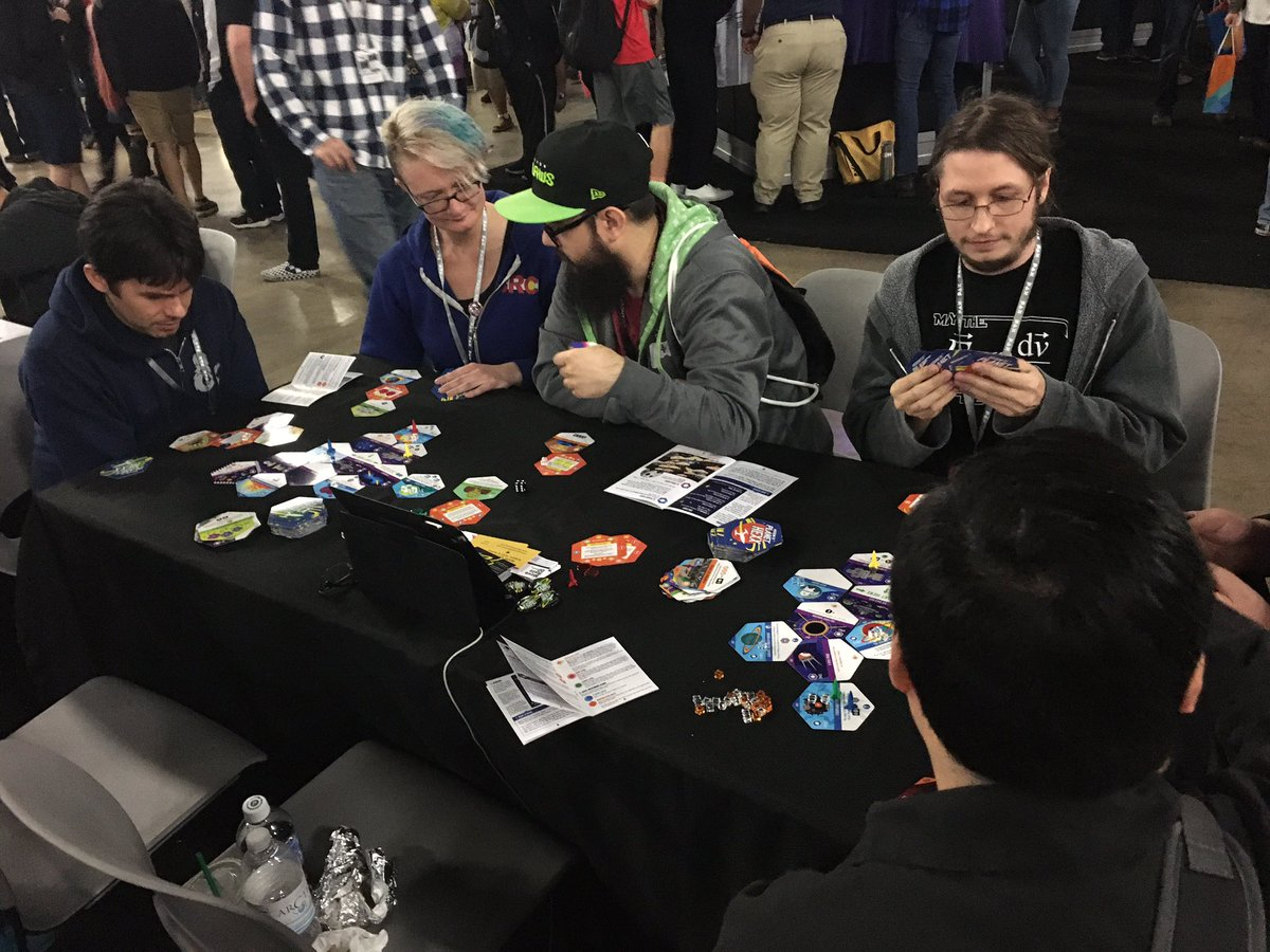 One more day at the PAX South Tabletop Indie Showcase, space cadets! It's gonna be awesome!!  #paxsouth #paxsouth2020 #missiontoplanethexx #spacegame #spacegames #bgg #boardgamegeek #tabletopgames #boardgame #tabletopgame #boardgames #moverate20gamespic.twitter.com/osW6e71S8a