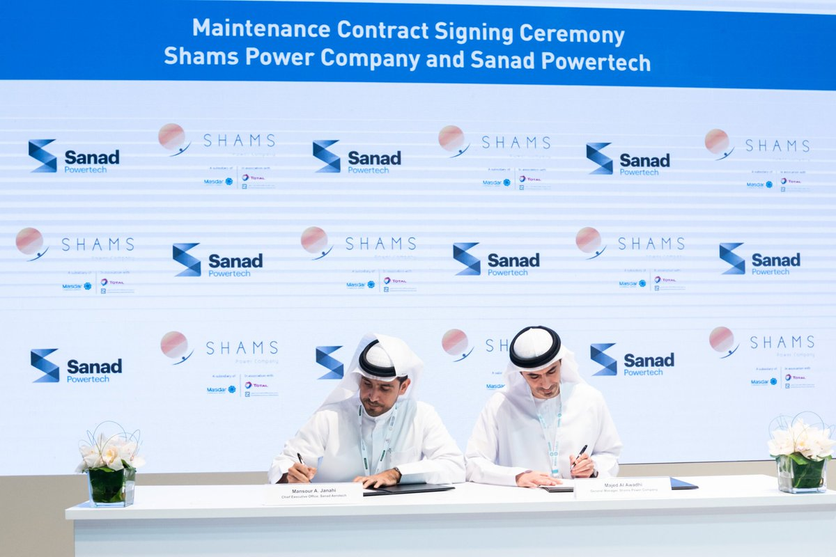 Shams Power Company and Sanad Powertech have signed the maintenance contract during the Abu Dhabi Sustainability Week. @Masdar @Mubadala   #Shams #ADSW #partnership #renewableenergy #cleanenergy #UAEpic.twitter.com/JHT5nkluc7