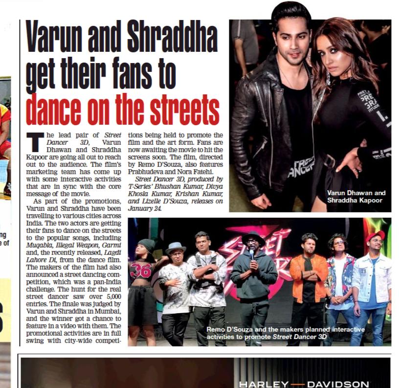 #StreetDancer3D @Varun_dvn & @ShraddhaKapoor get their fans to dance on the streetspic.twitter.com/N0uQhSej28